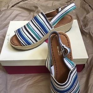 Blue and White Canvas Espadrilles